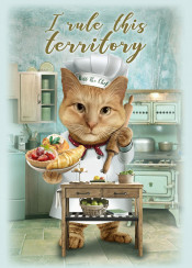 cat vintage kitchen pastry chef funny territory