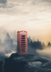 phonebooth red cliff high sky trees clouds birds dreamy edge