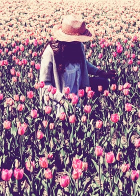 girl pink tulip field flowers hat sun sitting woman tranquility zen beautiful peaceful beauty nature solo travel one person picking tulips long hair sunshine dreamlike pastel delicate people alone happiness home fresh inspiration visual vast landscape spring