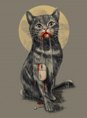 cat mouse illustration moon humor