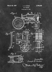 patent patents tractor toy gift agriculture decor decoration black white