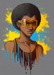 afro black african american ski hiphop bball graffiti tattoo basketball goggles glasses urban rap anime manga videogame character original