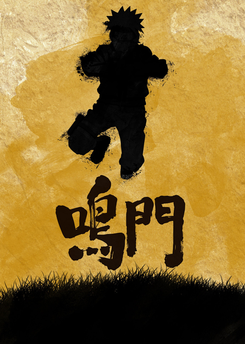 Yellow Naruto with kanji Narut... by anm diz | metal posters - Displate