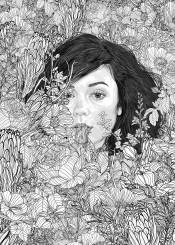 illustration lineart linedrawing flowers botanical garden wilderness figurative sketch nature