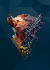 bison head horns animal cow abstract sketch triangle minimalistic geometric low poly lowpoly wild
