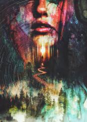surreal surrealism nature woman beauty fashion dream forest path magic face portrait trees sun stars space colors colorful ink water clouds abstract magical death lips