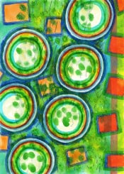 geometry geometric geometrical circles squares painting watercolor cool nature green fun happy contemporary fine