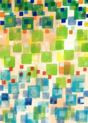 square pattern geometry geometrical color colorful green blue translucent beautiful fun movement painting watercolor light