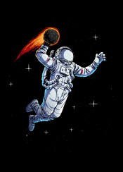 basket astronaut sport fantasy galaxy space outerspace comet stars dunk illustration