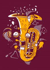 music psycho illustration orchestra brass band trump trumpet happy motivation instrumental
