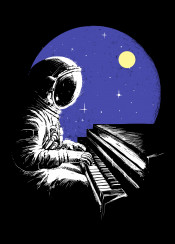 astronaut music fantasy piano galaxy moon stars playing outerspace
