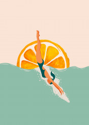 girl dive illustration summer oranges sun sea beach