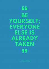 quote18 be yourself everyone else already taken quote red green neon oscar wilde english typography type font inspire inspiration inspirational text