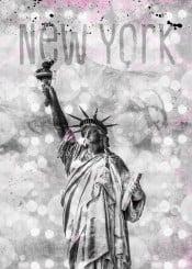 newyork  new  york  city  statue  of  liberty  modern  decorative  design  digital  art  landmark,pink  grey  abstract  watercolor  mixed  media  graphic  wallart