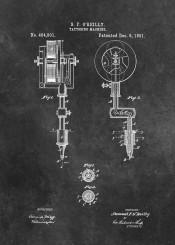 patent, art, patents, graphic, illustration, invention, vintage, scheme, decor, decoration, tattooing  machine