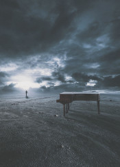 musician piano hope light darkness goal outdoor instrument afterstorm achieve dream behind shadow bright woman walkingaway imagination path life living