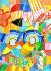 colorful abstract painting watercolor fine geometric geometrical geometry cool fun happy beautiful bright vibrant color