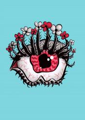 eye flowers weird bizarre cool horror creepy fun funny illustration cartoon melt melting surreal surrealism surrealistic dark strange disturbing freak psycho freaky freakish psychedelic eyesight look stare psychotic watch watching staring