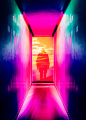 art  neon  surreal  ink  abstract  japan  light  cool  pink  blue  bright  inspire  photo  manipulation  fanfreak  nature  building  city