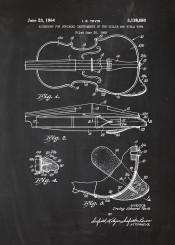 violin violins accessory play sound music musician musical orchestra blackboard blueprint blackprint chalk vintage patent drawing