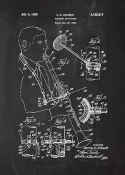 clarinet positioner classical classic music musician orchestra concert blackboard blueprint patent drawing vintage chalk