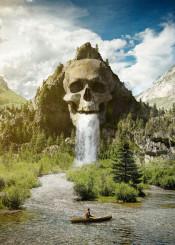 skull mountain forest waterfall boat canoe nature rock