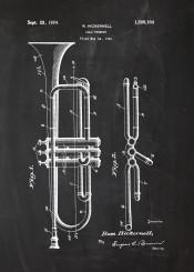 trumpet play music musician sound patent drawing blackboard blueprint jazz blues