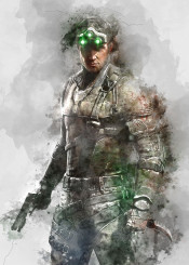 sam fisher splinter cell video games gaming watercolor