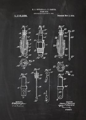 spark plug patent drawing chalk blackboard engine blueprint car motorcycle motor