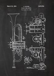 trumpet jazz blues music musician play patent drawing blackboard blueprint