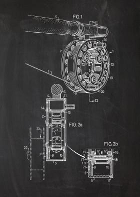 fishing fish patent drawing rod reel blackboard blackprint blueprint catch catching hunting sea lake river ocean