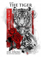quote18 tiger roses red strong tenderness fighter