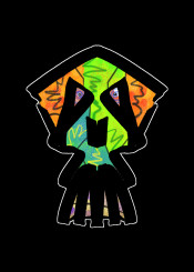 skull urban street hipster orange green blue horror evil fantasy