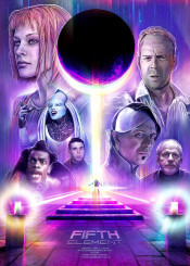 fifth element scifi movie film movieposter brucewillis christucker diva multipass painting illustration fifthelement 90s 80s retro futuristic neon millajovovich garyoldman fire water earth wind love