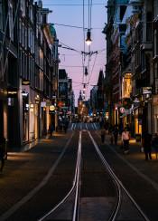 amsterdam europe trams transport bluehour evening