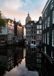 europe amsterdam reflection canal dutch