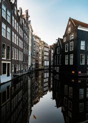 amsterdam dutch canal reflection europe