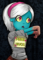 zombie hugs cartoon vector girl apocalypse walking dead funny kawaii design
