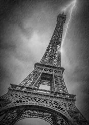 paris  eiffel  tower  eiffeltower  architecture  thunder  rain  rainy  thunderstorm  cityscape  lightning  abstract  surreal  dark  monochrome  bad  weather  clouds  cloudy  severe
