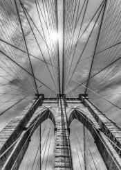 brooklyn  bridge  new  york  nyc  architecture  black  and  white  urban  sun  rays  sunrays  detail  sky  attraction  landmark  cable  steel  construction