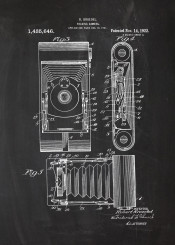 folding camera cam photo photography cinema cinamatography motion picture patent drawing blackboard blueprint theatre silver screen