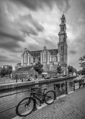 amsterdam  netherlands  city  bike  bicycle  church  gracht  westerkerk  prinsengracht canal  cloudy  typical  cityscape  architecture  attraction  europe  sight  landmark  westertoren  streetscene