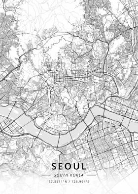 seoul south korea map designer black white
