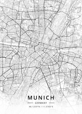 munich germany map designer black white