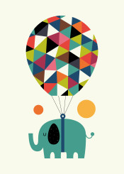 elephant balloon universe dream fly rainbow cute children illustration vector graphic design