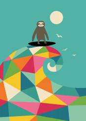 sloth surfs summer fun smile children cute rainbow illustration graphic design vector holiday