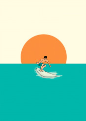 sunset surf surfing man beac summer seaside minimalism line draw collage