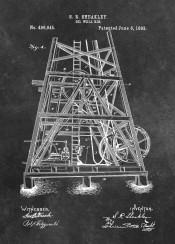 patent patents graphic illustration invention vintage scheme decor decoration black white oil  well  rig  machine