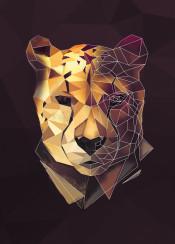 cheetah cat wild wildanimals animals geometric modern triangle lowpoly low poly abstract head sketch