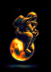 thinker space spaceart outerspace astronaut moon stars